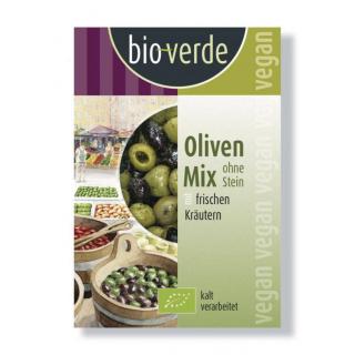 bio verde Gemischte Oliven ohne Stein gekräutert 150g Packung