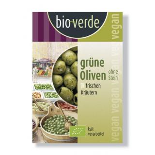 bio-verde Grüne Oliven ohne Stein gekräutert 150g Packung