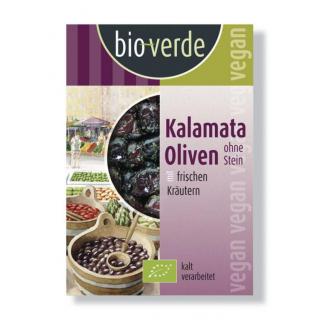 bio verde Schwarze Kalamata Oliven ohne Stein gekräutert 150g Packung