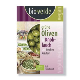 bio-verde Grüne Oliven mit Knoblauchfüllung gekräutert 150g Packung