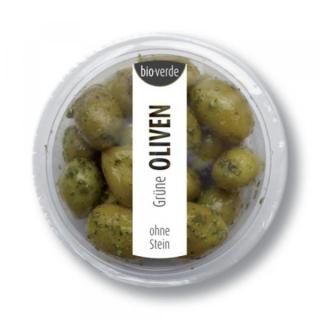 bio-verde Prepack Grüne Oliven o. Stein 80g Becher Kräutermarinade