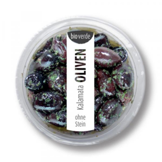 bio-verde Prepack Kalamata Oliven o. Stein 80g Becher