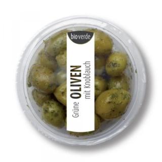 bio-verde Prepack Grüne Oliven mit Knoblauch 80g Becher