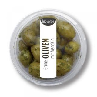 bio-verde Prepack Grüne Oliven mit Mandeln 80g Becher
