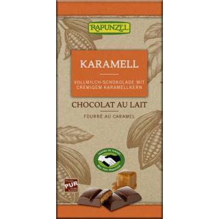 Rapunzel Vollmilch Schokolade mit Karamellfüllung 100g Stück