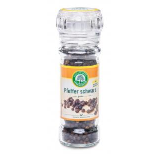 Lebensb Pfeffer schwarz ganz mit Mühlenaufsatz 45g Glas