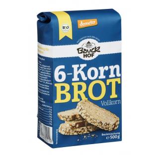 Bauck 6-Korn-Brot Vollkorn 500g Packung