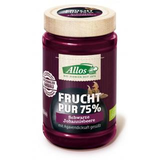 Allos Frucht pur Schwarze Johannisbeere 250g Glas -75% Fruchtanteil-