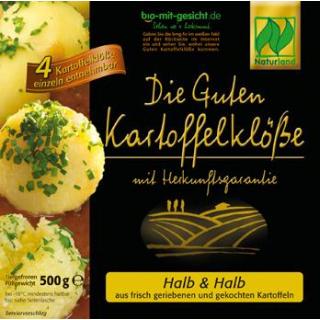bio mit gesicht Kartoffelklöße halb/halb 4 Stück 500g Packung