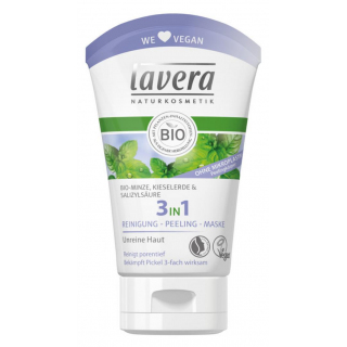 lavera 3in1 Reinigung - Peeling - Maske Bio-Minze 125ml Tube