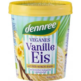 dennree Bourbonvanilleeis auf Reis-Kokos Basis vegan 500ml Becher
