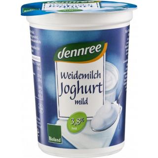 dennree Weidemilchjoghurt natur mild 3,8% Fett 500g Becher