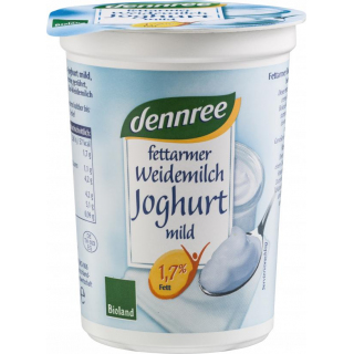 dennree fettarmer Weidemilchjoghurt natur mild 1,7% 500g Becher