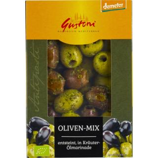 Gustoni Oliven Mix grün schwarz Oliven entsteint Kräuter 150g Schale