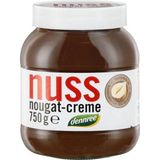 dennree Nuss Nougat Creme 13% Haselnussanteil 750g Glas