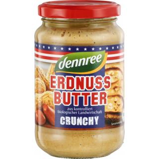 dennree Erdnussbutter Crunchy 350g Glas