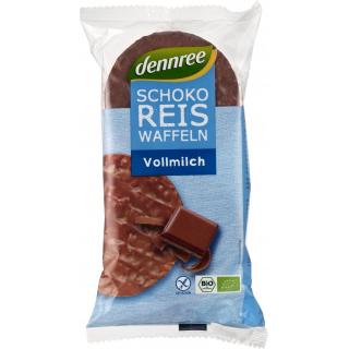 dennree Schoko-Reiswaffeln Vollmilch 100g Packung -glutenfrei-
