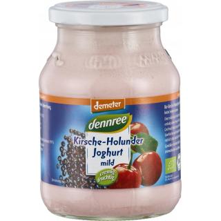 dennree Fruchtjoghurt mild Kirsche-Holunder 500g Glas