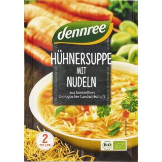 dennree Hühnersuppe mit Nudeln 45g Packung