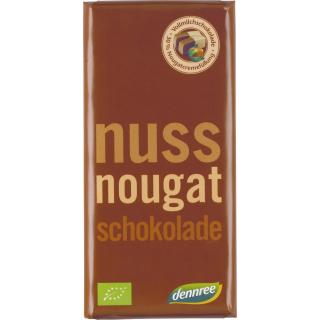 dennree Vollmilch Schokolade mit Nougatcremefüllung 100g Tafel