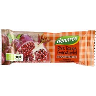 dennree Fruchtschnitte Rote Traube-Granatapfel 40g Stück