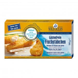 Wild Ocean Glutenfreie Seelachs-Fischstäbchen in Bio-Panade 180g Packung