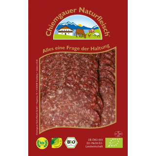 Chiemgauer Rindersalami geschnitten 65g Packung