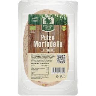 Freiland Geflügel Puten Mortadella mit Pistazien 80g Packung