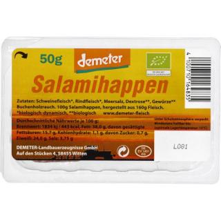 Demeter Landbauerzeugnisse Salamihappen 50g Packung