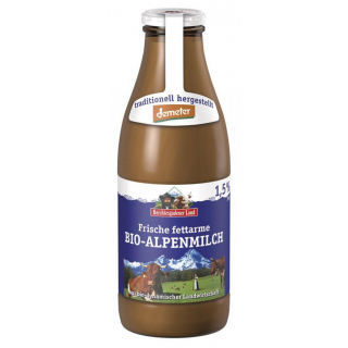 Berchtesg Demeter Alpenmilch fettarm 1l Flasche