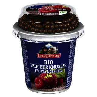 Berchtesg Frucht & Knusper Joghurt Himbeere mit Dinkel Schokoballs 150g Becher