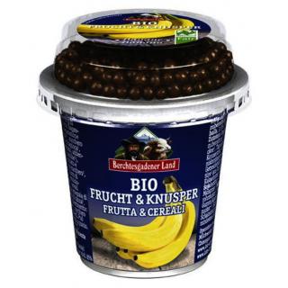 Berchtesg Frucht & Knusper Jogurt Banane mit Schokoballs 150g Becher