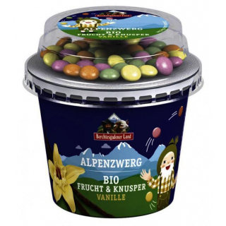 Berchtesg Frucht & Knusper Joghurt Vanille mit Schokolinsen 137g Becher