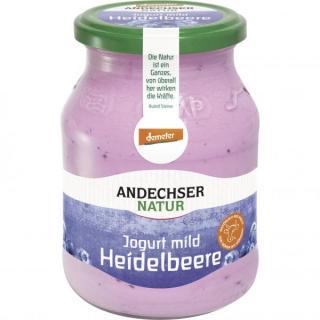 Andechser Jogurt Heidelbeere 500g Glas -demeter-