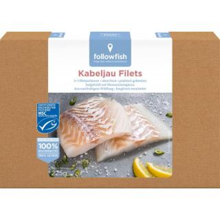 followfish  Kabeljau Filets 225g Packung 2-3 Filets