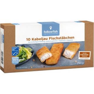 followfish Kabeljau Fischstäbchen 10 Stück 250g Packung