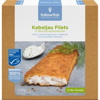 followfish Kabeljau Filets in Bio Knusperpanade 225g Packung