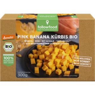followfood Pink Banana Kürbis 300g Schachtel Würfel roh ungeschält