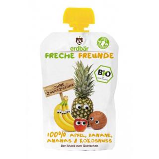 erdbär Freche Freunde Quetschbeutel Apfel Banane Ananas Kokosnuss 100g Beutel
