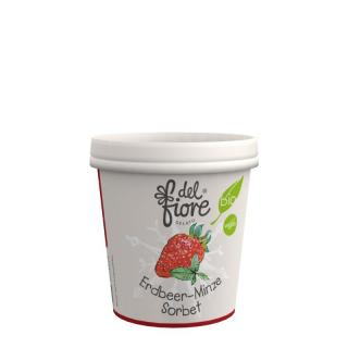 del fiore Gealato Erdbeere und Minze Sorbet 130ml Becher
